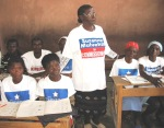 Cite Soleil, students in campaign T-shirts 3